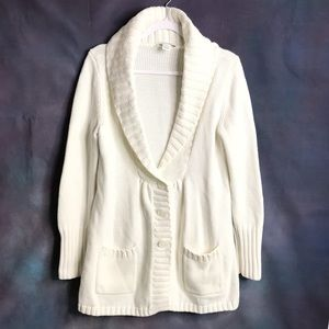 WHBM Button Peplum Long Cardigan Soft White
